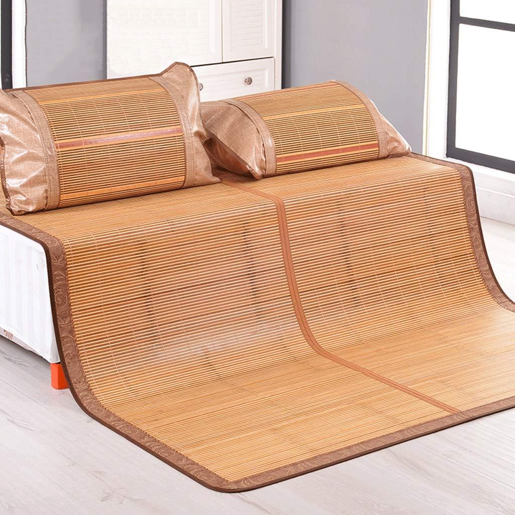 DUAN GUO FENG DGF Karbonisierte Bambus-Kühle Matte 1,5/1,8 M Doppelbett Faltende Sommer-Schlafmatte Natürliche Doppelseitige Matte