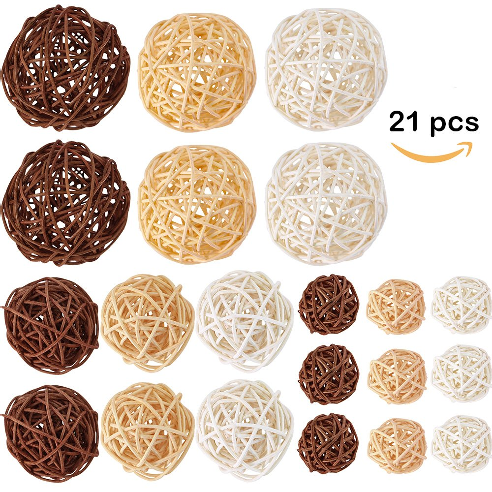 Supla 21 Pcs/lot Mixed 3 Colors Rattan wicker balls Vase Fillers for Wedding Party Christmas decoration, Assorted Three Size(3cm/5cm/7cm) by Supla