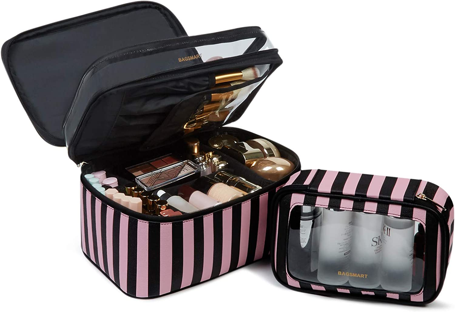 Travel Makeup Bag, BAGSMART Large Cosmetic Bags Double Layer with Adjustable Dividers, Leather Makeup Bags Water-resistant Leather with Portable Clear Travel Makeup Cases, for Makeup, Cosmetics Tools