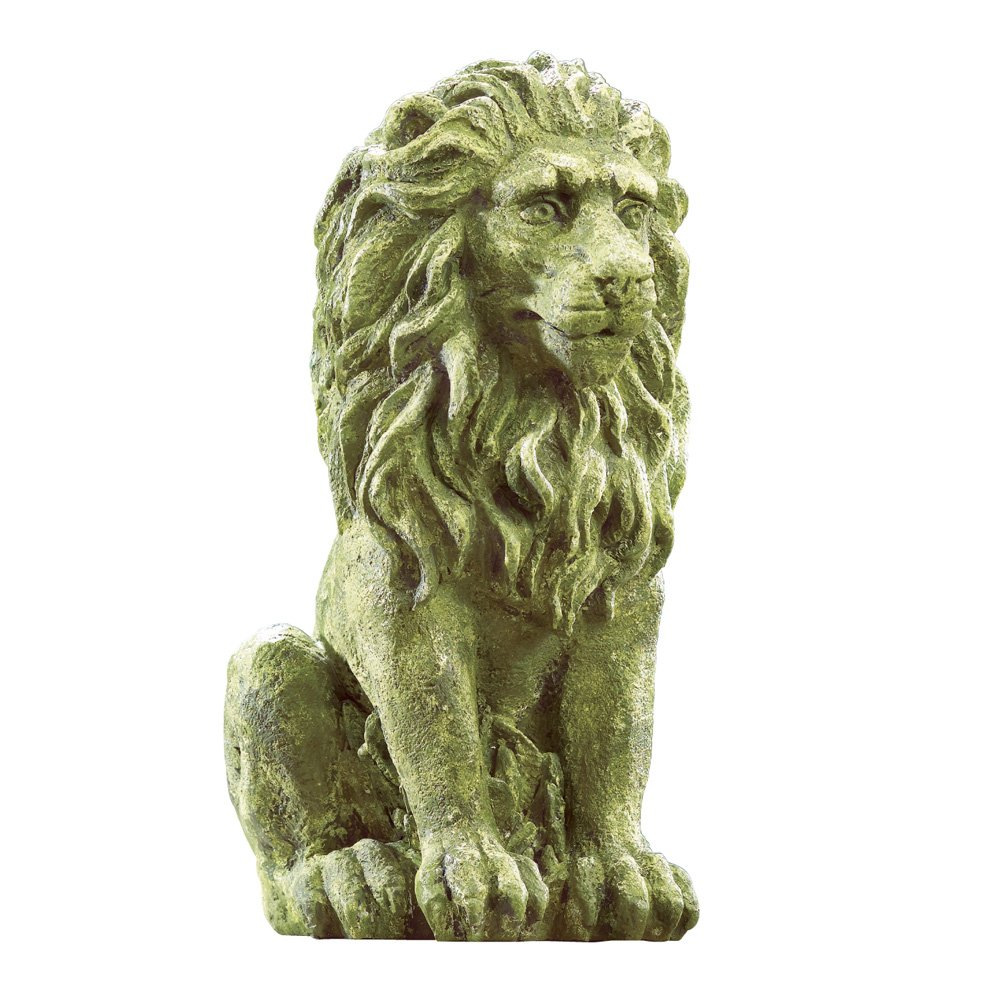 Collections Etc Outdoor Moss Lion Statue, Green