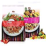 (瑞典进口包邮)ICA 爱西爱 45% 水果麦片750g + 草莓酸奶什锦粗粮营养麦片500g