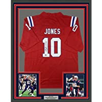$549 » Framed Autographed/Signed Mac Jones 33x42 New England Red Football Jersey Beckett BAS COA