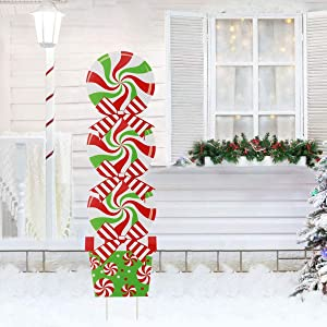 Printasaurus Candy Christmas Decorations - Outdoor Xmas Yard Stakes - Giant Holiday Decor Signs for Home Lawn Pathway Walkway Candyland Themed Party