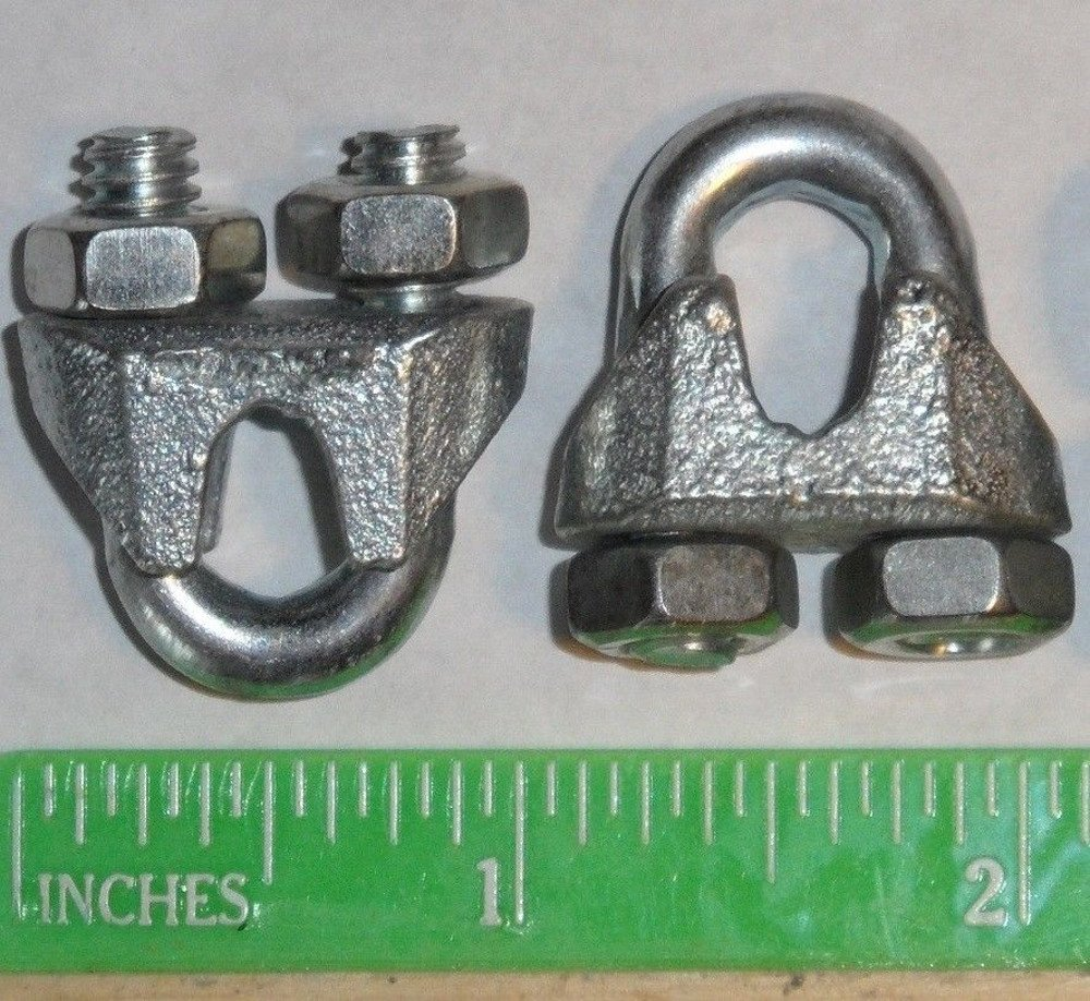 Cable Clamps U-Bolts 25 pcs 3/16' Clamps Steel Aircraft Cable Wire Clip U Bolt Pinnon Hatch Farms