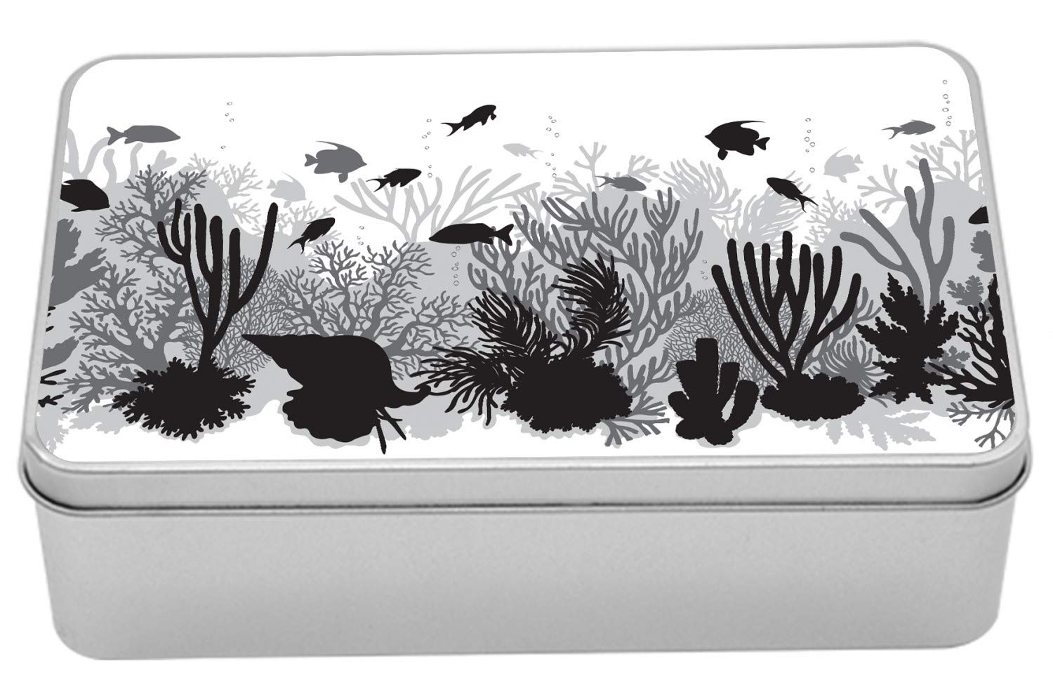 Lunarable Aquatic Metal Box, Silhouette Style Underwater Life Greyscale Aquarium Reef Fishes, Multi-Purpose Rectangular Tin Box Container with Lid, 7.2'' X 4.7'' X 2.2'', Charcoal Grey Pale Grey White