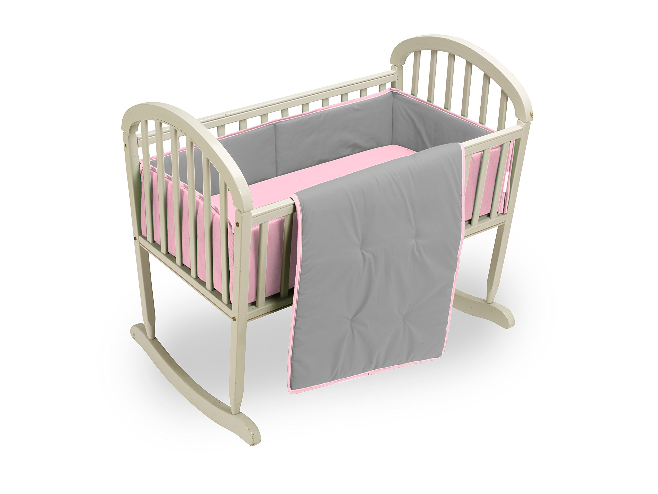 Baby Doll Bedding Reversible Cradle Bedding, Grey/Pink