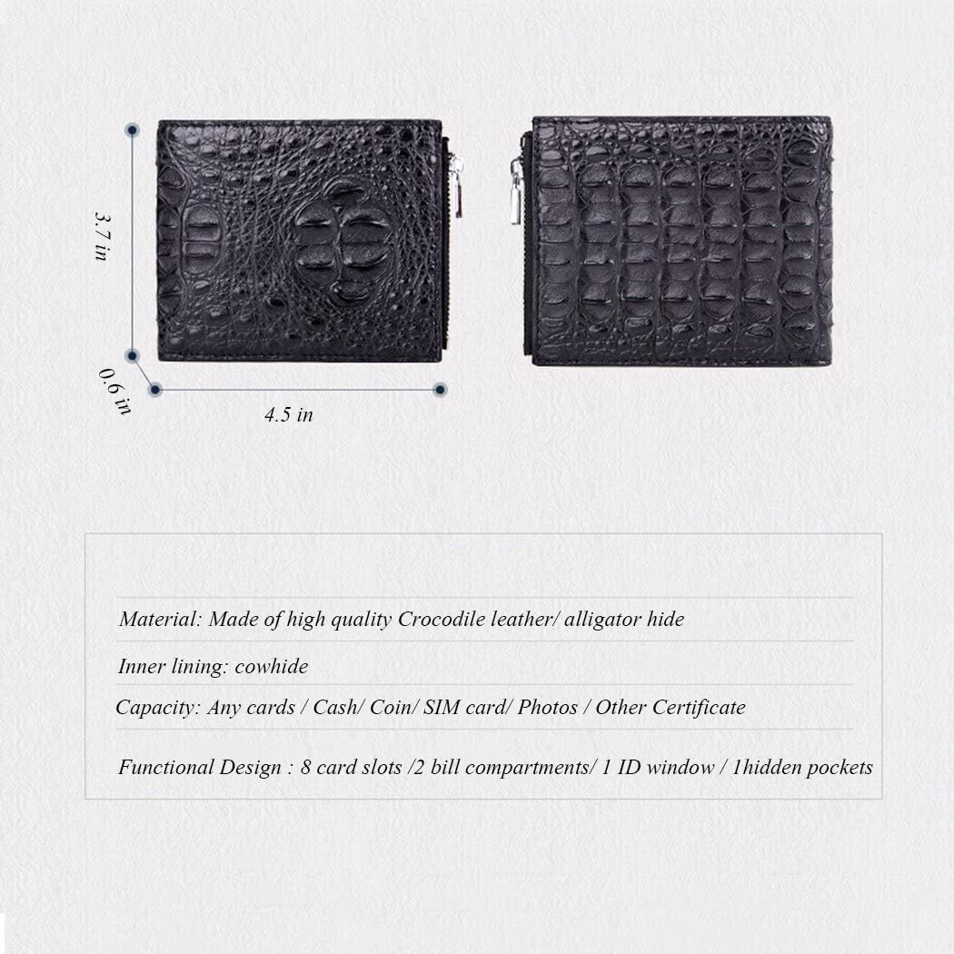 Crocodile Skin Mens Bifold Big Head Leather Dark Black Wallet