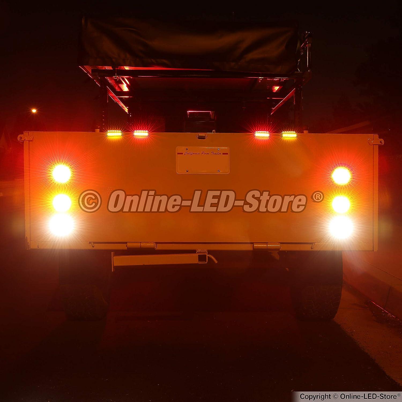 2 Red Grommets /& Plugs Stop Turn Tail Park 24 LED DOT FMVSS 108 Marine Trailer Brake Lights for Boat Trailer RV Truck 2 Amber 4 Round LED Trailer Tail Light Kit IP67 Waterproof
