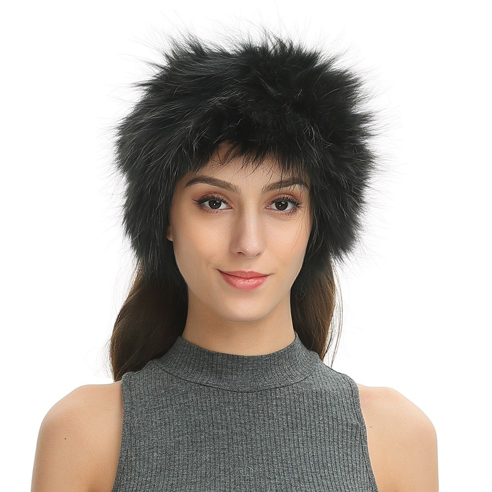 Ferand Women's Real Raccoon Fur Headband, Convertible Neck Snood Scarf, Black