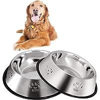 Hundskålar i rostfritt stål, 2 hundmatningsskålar, hundskålar med halkfri gummibas, husdjursprodukter halkfri rostfri…