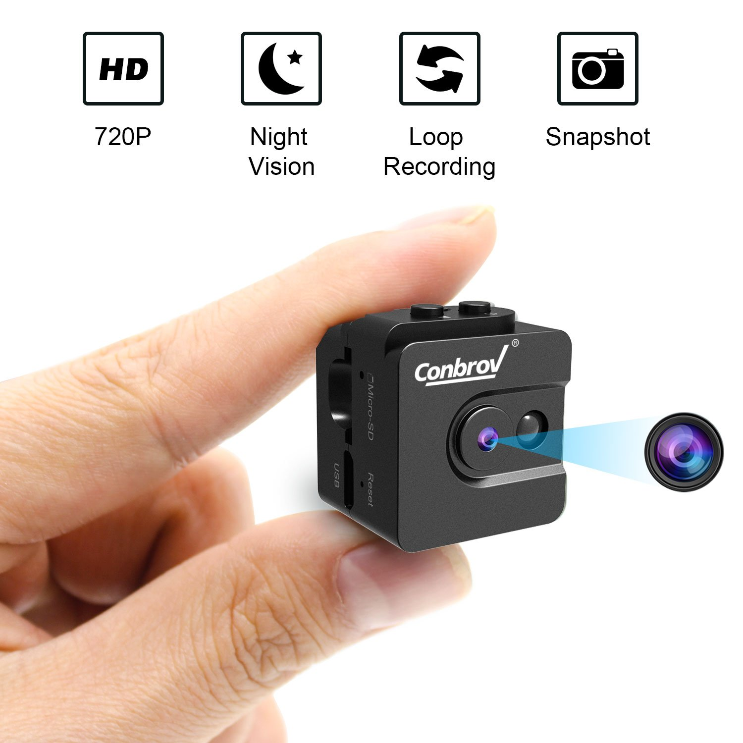 Mini Camera, Conbrov 720P Night Vision Spy Camcorder Loop Recording Portable Nanny Cam for Home and Office Indoor/Outdoor Use