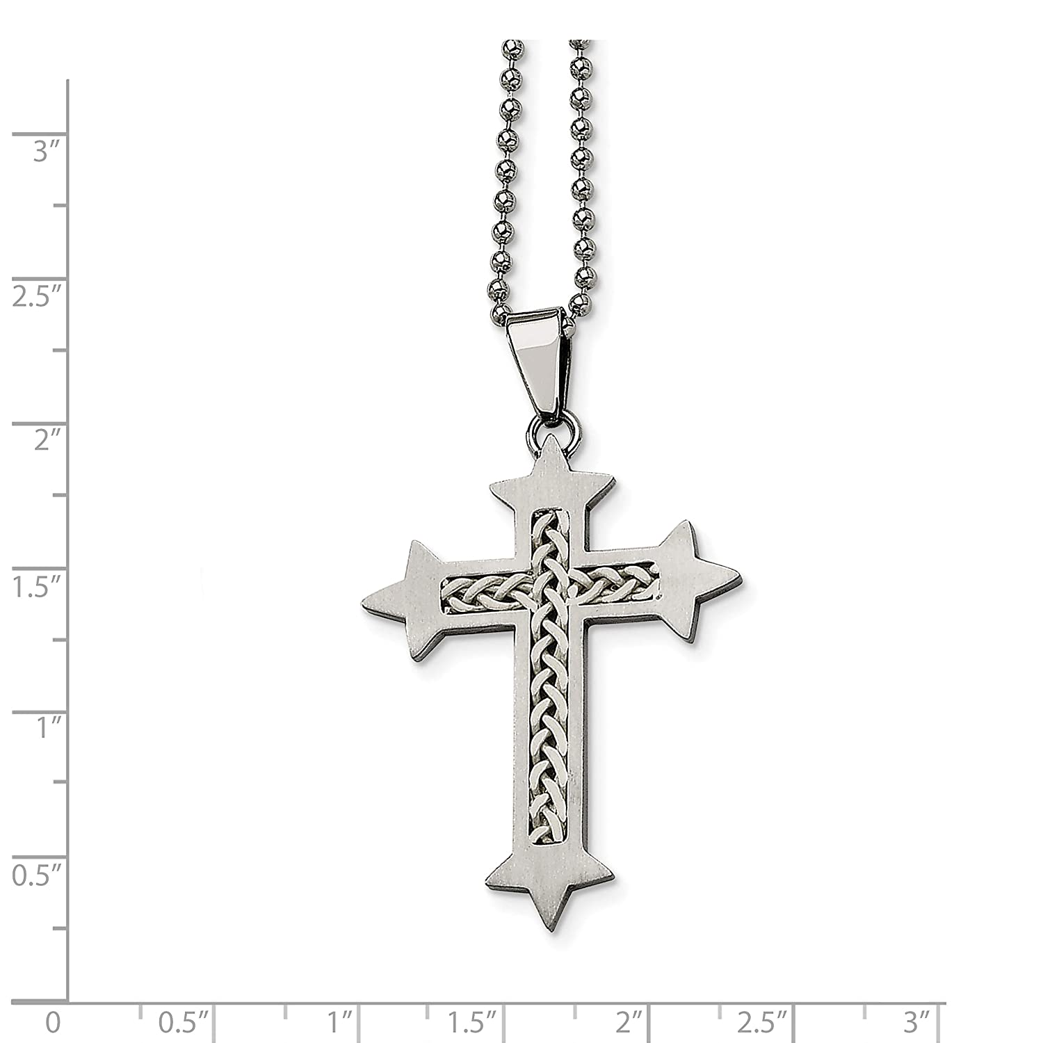 Stainless Steel Silver Inlay Cross Pendant 24 Inch Necklace 55x34mm 24 Inches
