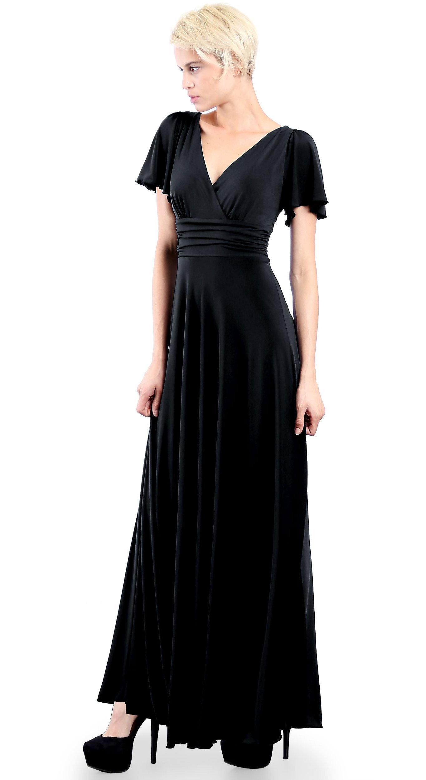 3dec8a5fe12f EVANESE Women's Slip on Evening Party Formal Long Dress Gown with Short  Sleeves XL, Black