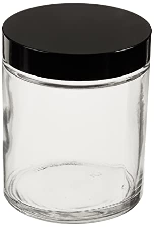 Kimble Type III Soda-Lime Glass Clear Straight-Sided Wide Mouth Jars with White Rubber Cap Liners Case of 24 Capacity 6oz