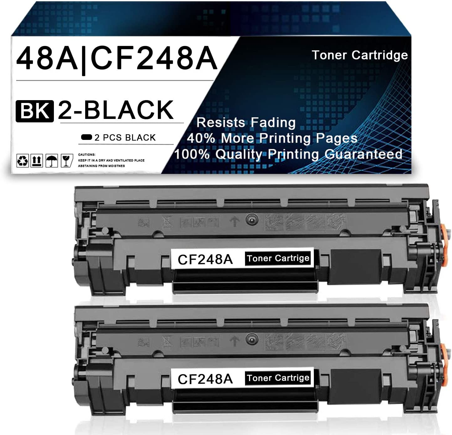 2 Pack Black 48A | CF248A Compatible Toner Cartridge Replacement for HP Laserjet Pro M15a M15w MFP M28a MFP M28w MFP M29w MFP M30w MFP M31w Printers Toner Cartridge.