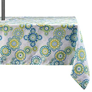 "Lahome Medallion Outdoor Tablecloth with Umbrella Hole - Water Resistant Spillproof Table Cover for Patio Table (Light Green, Zippered - 60"" x 84"" Rectangle)"