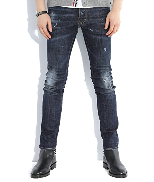 Wiberlux Dsquared2 Cool Guy Fit Men s Dirty Wash With Paint Splatter Jeans  50 Blue 24a6363da0c6