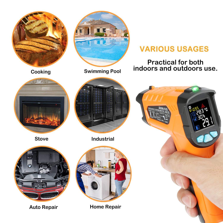 Infrarot Thermometer AD70 IR Laser Digital Thermometer 50/°C bis 800/°C kontaktfreies mit Farbe lcd 12-Punkte-Laserkreis Farbbildschirm Alarmfunktion bei /Über//Unterschreitung der Temperatur