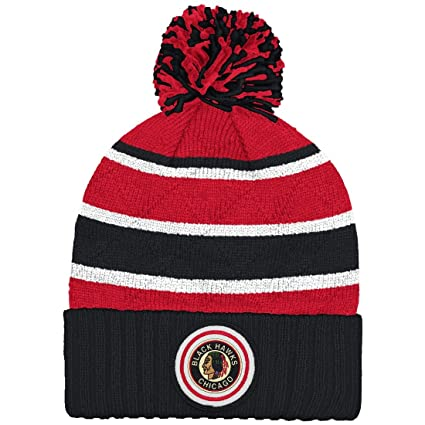 1e35f780735 Chicago Blackhawks Mitchell   Ness NHL  quot Quilted Crown quot  Cuffed Knit  Hat ...