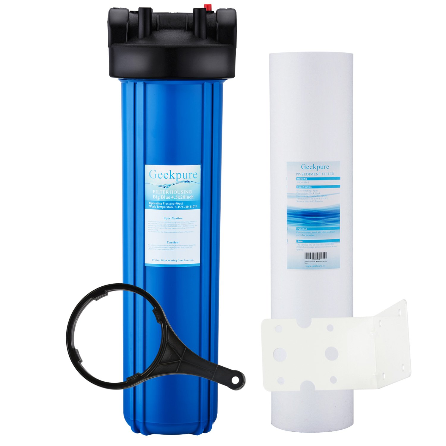 Geekpure Single Stage Whole House Water Filtration System w/ 20-Inch Big Blue Housing and 4.5''x20'' 5 Micron PP Sediment Filter-1''NPT Inlet/Outlet by Geekpure