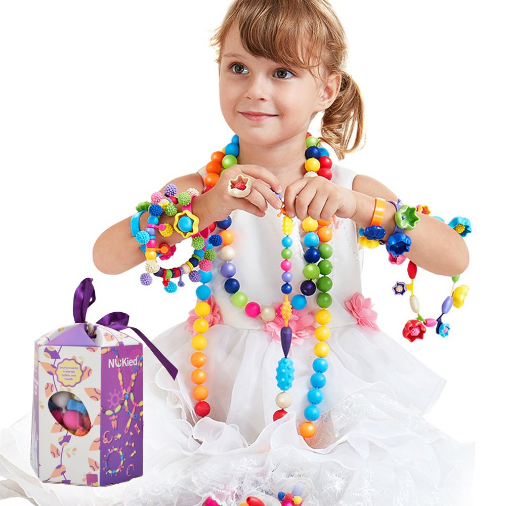 HANMUN Girls Pop Snap Lock Beads Beads Snap-Together Fashion Kit Fun for Kid Necklace and Bracelet Crafts Education Toys Chritsmas Gift(125)