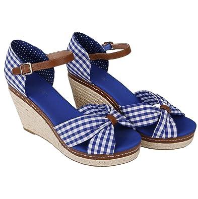 Krüger MADL Damen Sandaletten | Wedges Duchess (Blau 8) Modell: 4135 |  Trachtenschuh