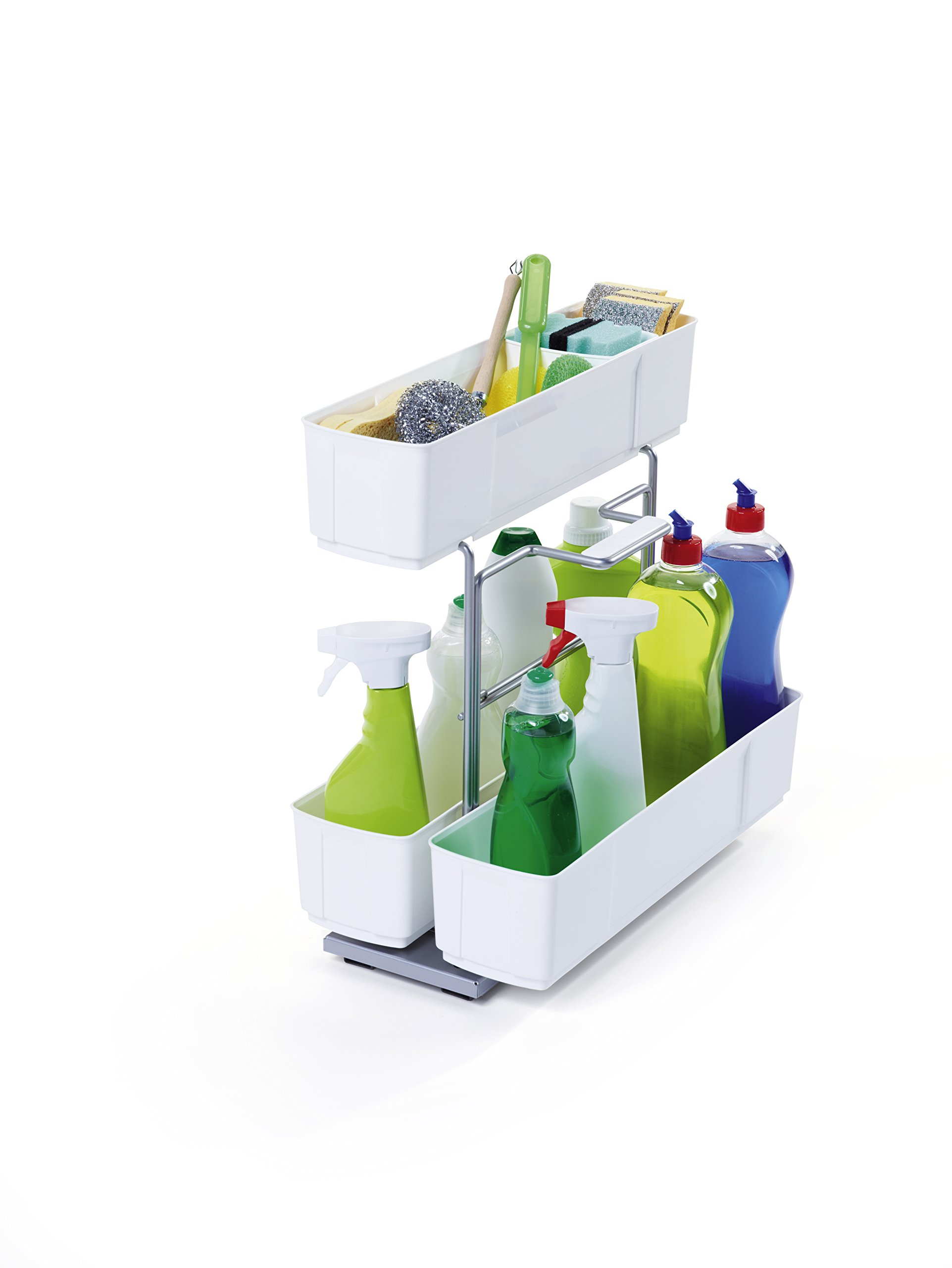 CleaningAGENT Under Sink Organizer | Chrome Steel and White | Sliding Pull-Out Base Cabinet Storage | Removable Carrying Caddy | Dishwasher Safe | Easy Install by Clever Storage by Kesseboehmer