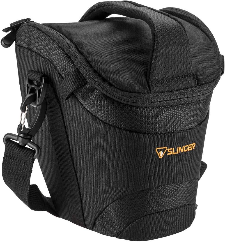 SLINGER Holster Camera Case - for Digital SLR's with Lens, Black-Large