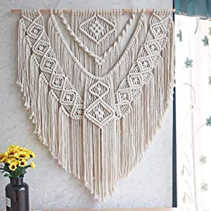 "LSHCX Macrame Wall Hanging Driftwood Decor Boho Woven Home Decoration for Bedroom Living Room Gallery Perfect Handmade Gifts, 23.6"" W X 23.6"" L"