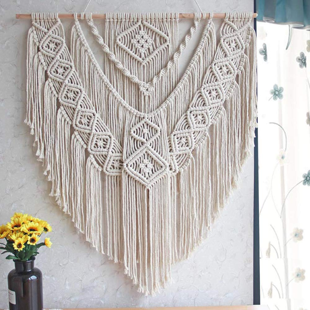 LSHCX Macrame Wall Hanging Driftwood Decor Boho Woven Home Decoration for Bedroom Living Room Gallery Perfect Handmade Gifts, 23.6'' W X 23.6'' L