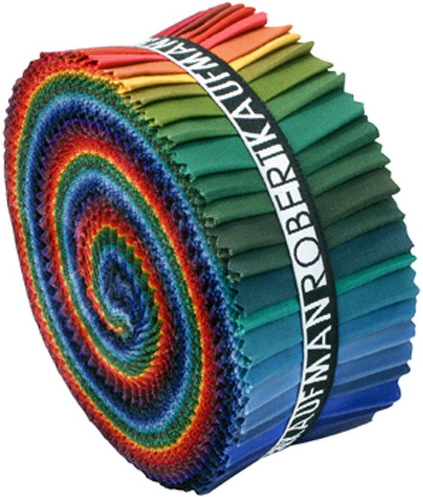 Robert Kaufman Fabrics RU-232-41 Kona Cotton Solids New Dark Roll Up 41 2.5-inch Strips Jelly Roll by Robert Kaufman