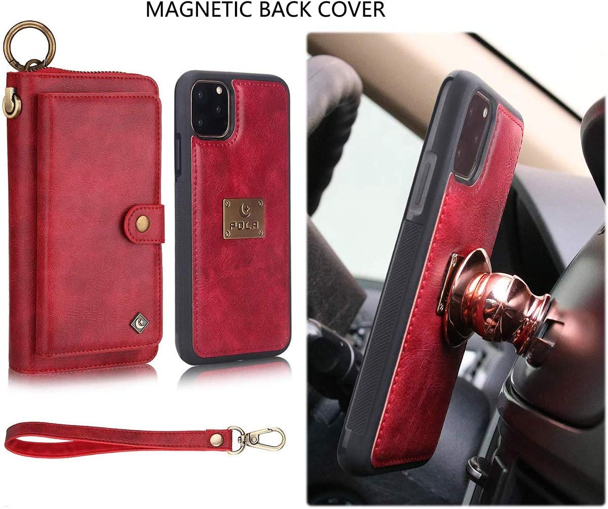 WintMing for iPhone 11 Leather Case with 14 Card Slots Magnetic Detachable Wallet Case Zipper Wriststrap Retro Flip Cover for iPhone 11 Red, iPhone 11