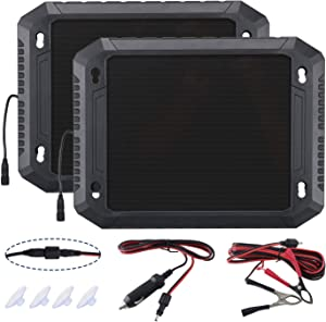PALADIN Solar Car Battery Charger, 12V 2.4W Battery Trickle Charger Maintainer,Wheather-Resistant Solar Panel Power Charger,Portable Backup for Automotive, Motorcycle, Boat, Marine, RV,Trailer(2 Pack)
