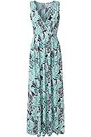 KRANDA Women's V Neck Sleeveless Elastic Waist Striped Maxi Dress …