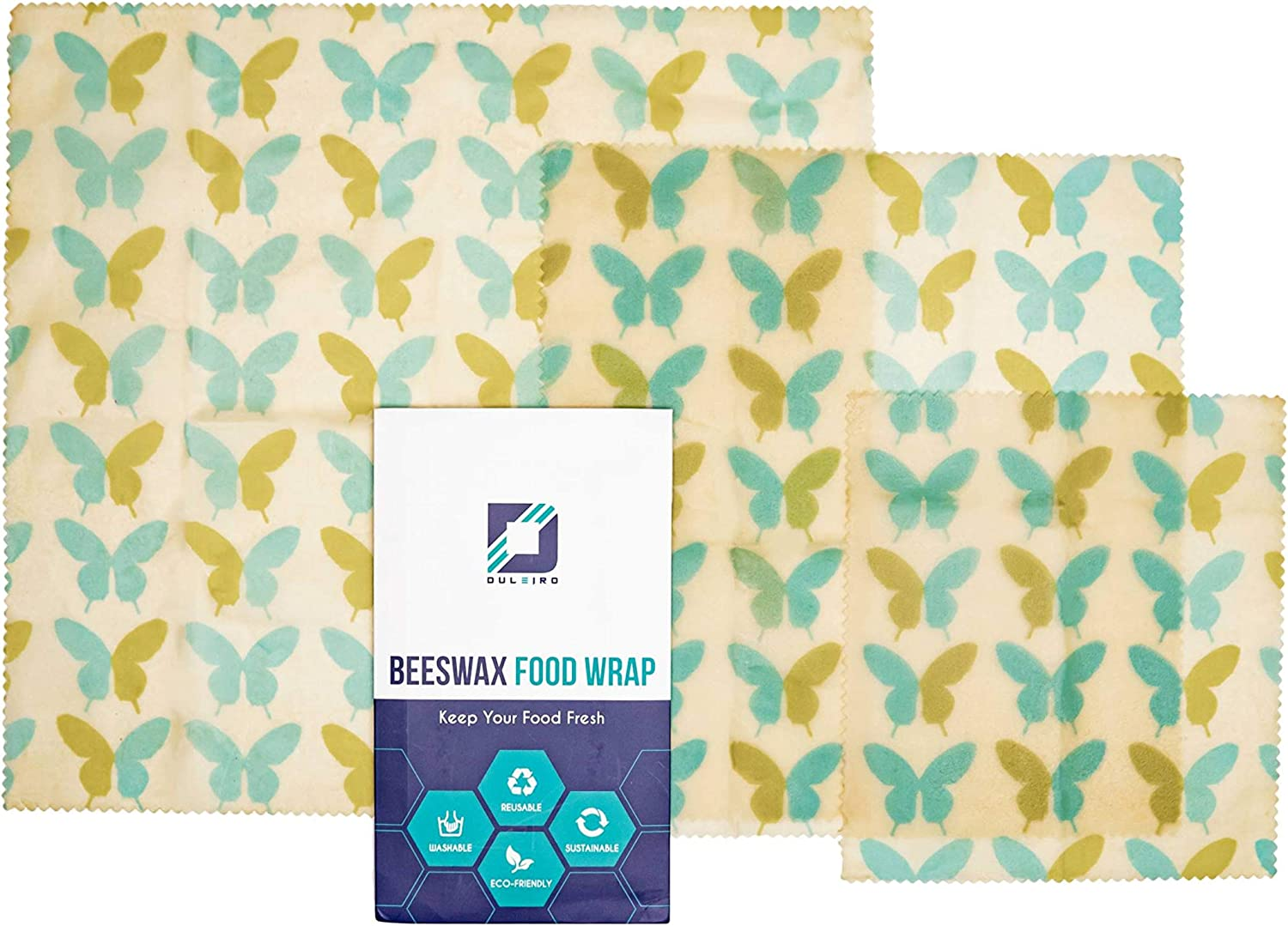 DULEIRO Bee's Wax Food Wraps, Reusable Beeswax Wrap, 3 Pack Assorted Sizes, Eco- Friendly, Biodegradable, Reusable, Washable, Sustainable, Plastic Alternative, 3 Pack Includes LG, M, SM