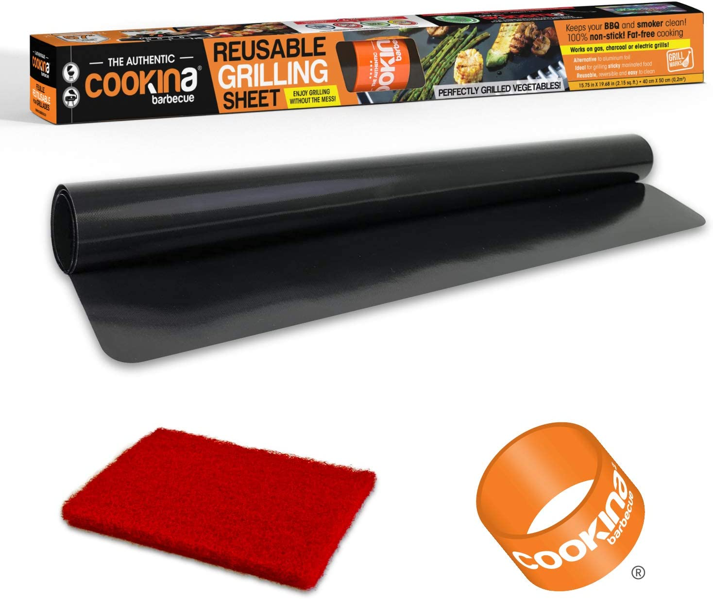 COOKINA BBQ Reusable Mat-100% Non-Stick, Easy to Clean Grilling Sheet for Smokers, as Well as Gas, Charcoal and Electric Barbecues, Single Pack, Black: Kitchen & Dining