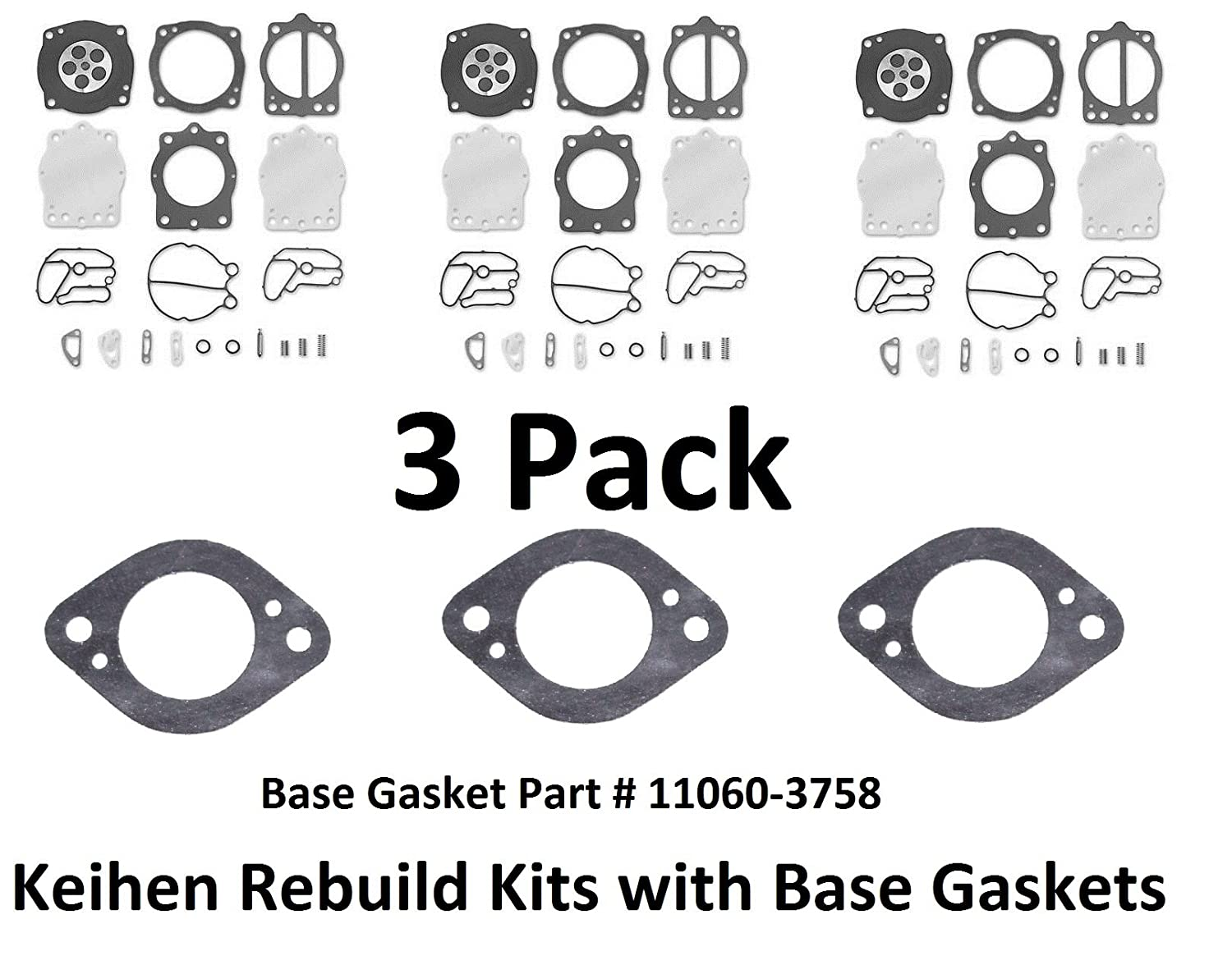 JSP Manufacturing Polaris Keihin Triple Carb Rebiuld Kit SL SLX SLTX 1050 With Base Gaskets
