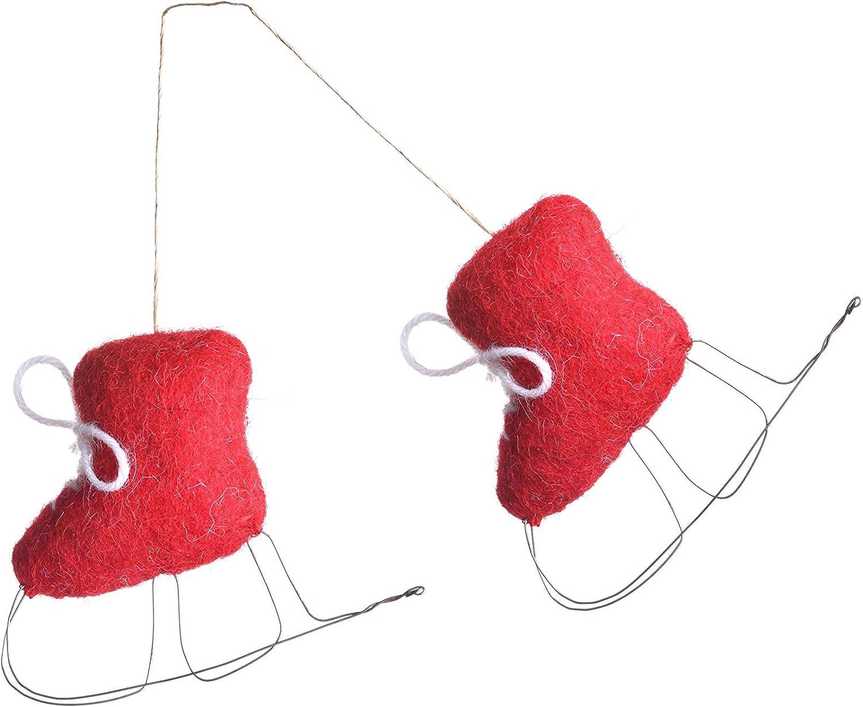 LBH Juego de 2 para la decoraci/ón casera Decoraci/ón de Navidad Decoraci/ón de Vacaciones Rojo De Kulture Hecha a Mano de Fieltro Colgantes Mini Patines Ornamento 4x1x3