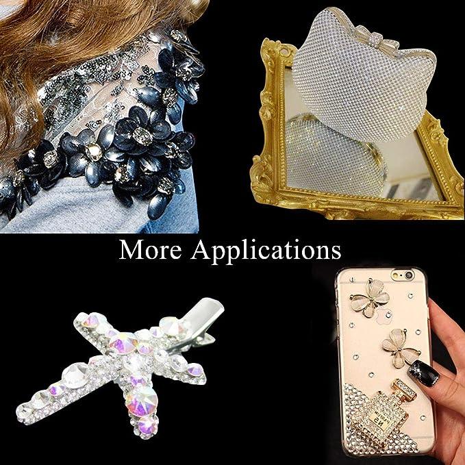 en Caja de Almacenamiento con Pinzas y Bol/ígrafos de Diamantes SS4-SS30 Litthing 4000 Piezas de Diamantes de Imitaci/ón de Espalda Plana de Vidrio Hot Fix Gemas Cristales Redondas 1,5-6 MM