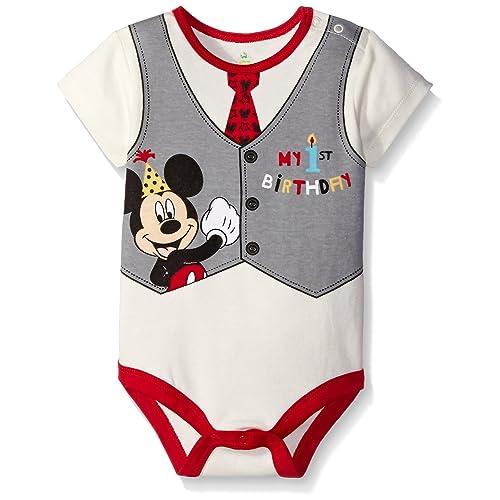 Disney Baby Boys Mickey My First Birthday Creeper