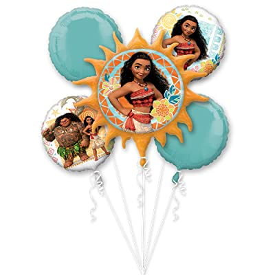 Anagram Moana Balloon Bouquet, includes 5 Foil Balloons, Licensed: Kitchen & Dining