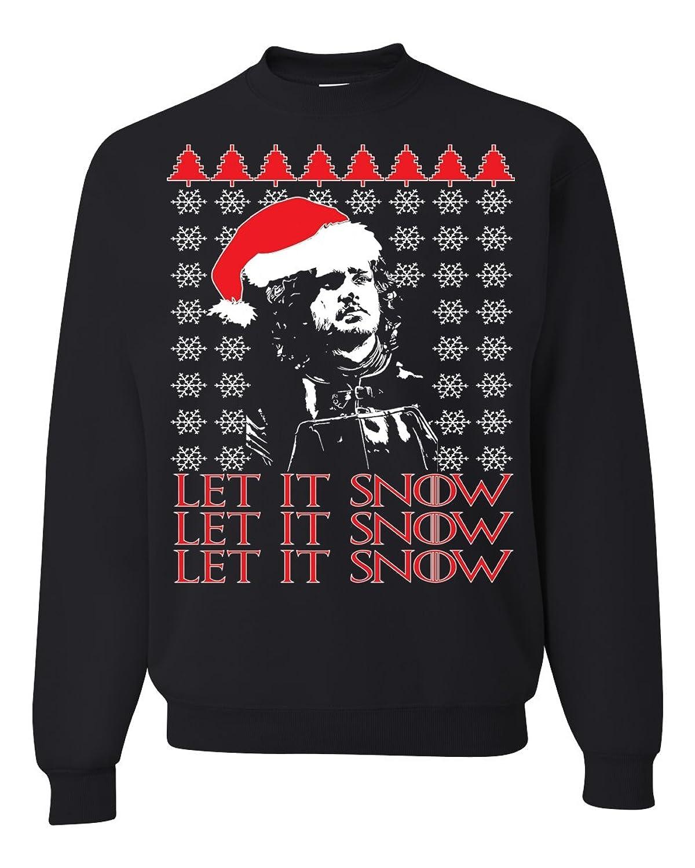 chic jon snow let it snow got ugly christmas sweater unisex crewneck sweatshirt