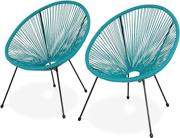 Alice's Garden Lot de 2 fauteuils Design Oeuf Acapulco Turquoise Fauteuils 4 Pieds Design rétro, Cordage Plastique, intérieurextérieur