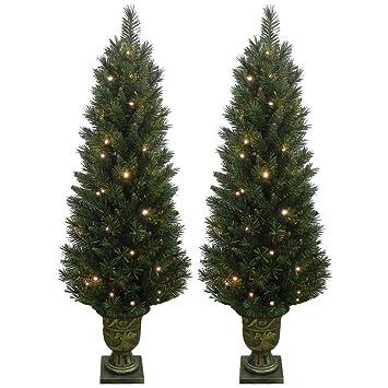 Set of 2 Light Up Prelit Artificial Pine Indoor/Outdoor Pathway ...
