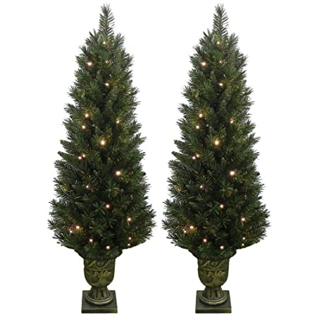 Mr Crimbo Gorgeous Set Of 2 Prelit Christmas Trees These 4ft 120cm Pre Lit Pathway Festive Artificial Pine Xmas Trees Are Lit With 50 Warm White Led