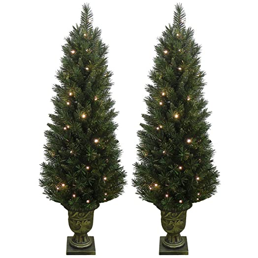 Set of 2 light up prelit artificial pine indooroutdoor pathway set of 2 light up prelit artificial pine indooroutdoor pathway christmas trees mozeypictures Image collections