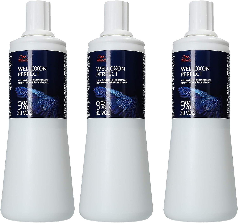 Agua oxigenada Wella 9% Welloxon, 3 x 1000 ml, H2O2, 30 vol. crema de oxidación