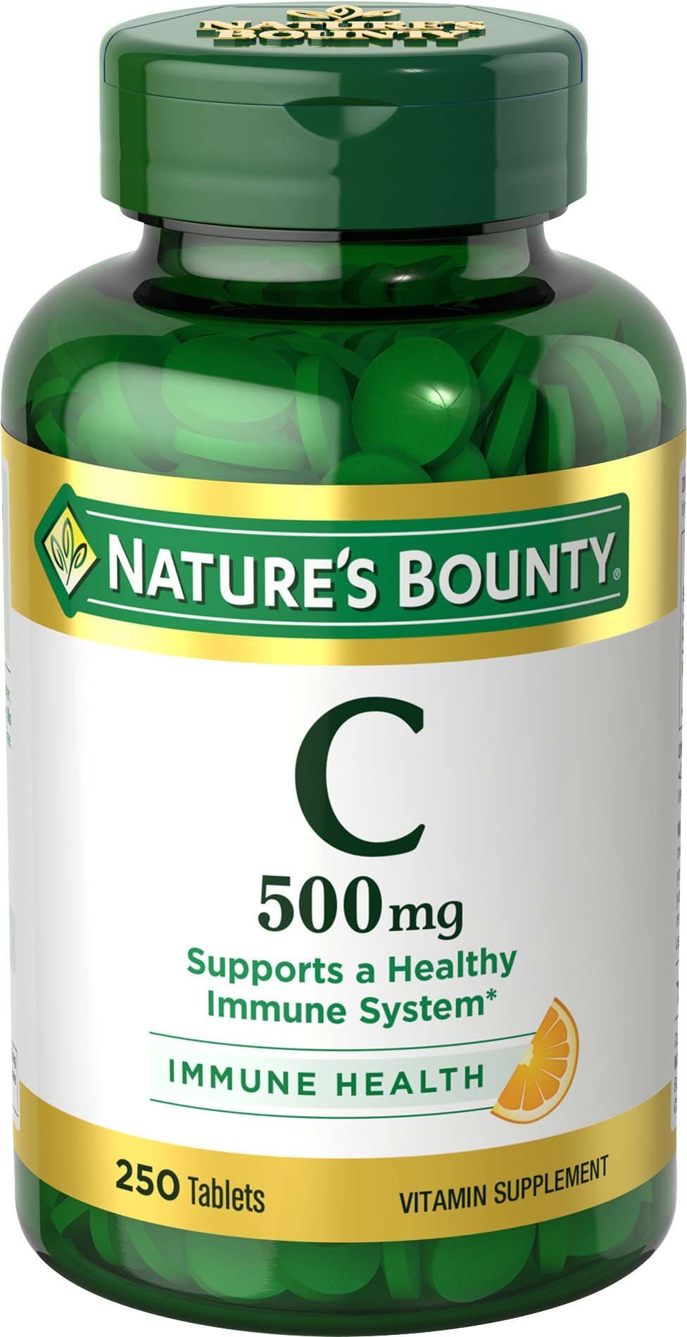 Nature's Bounty Vitamin C, 500mg, 250 Tablets, Vitamin Supplement for Immune System Support(1), Antioxidant(1), Gluten Free, Vegetarian