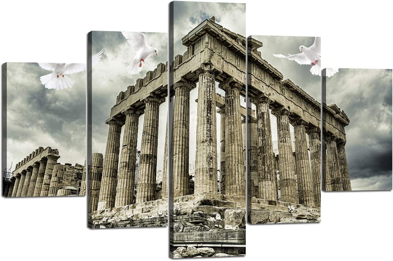 Amazon Com Wall Decor 5 Panel Canvas Modern Painting Parthenon Temple On The Acropolis Of Athens Greece Artwork Wall Art Home Decoration For Living Room Pictures Hd Printed Framed Ready To Hang 60 Wx40 H Posters