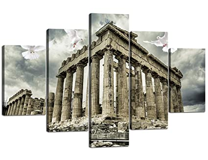 Wall Decor 5 Panel Canvas Modern Painting Parthenon Temple On The Acropolis Of Athens Greece Artwork Wall Art Home Decoration For Living Room Pictures